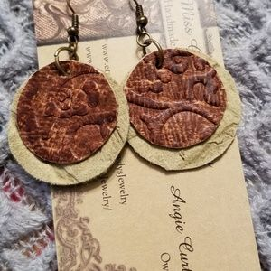 Jewelry - Two-Tone Handmade Leather Earrings